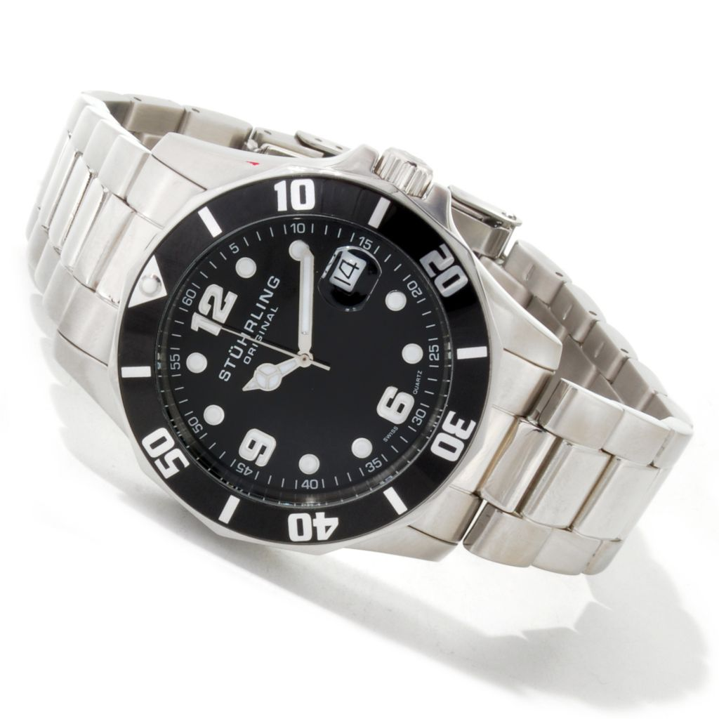 612-152 - Stührling Original 42mm Clipper Diver Swiss Quartz Stainless Steel Bracelet Watch