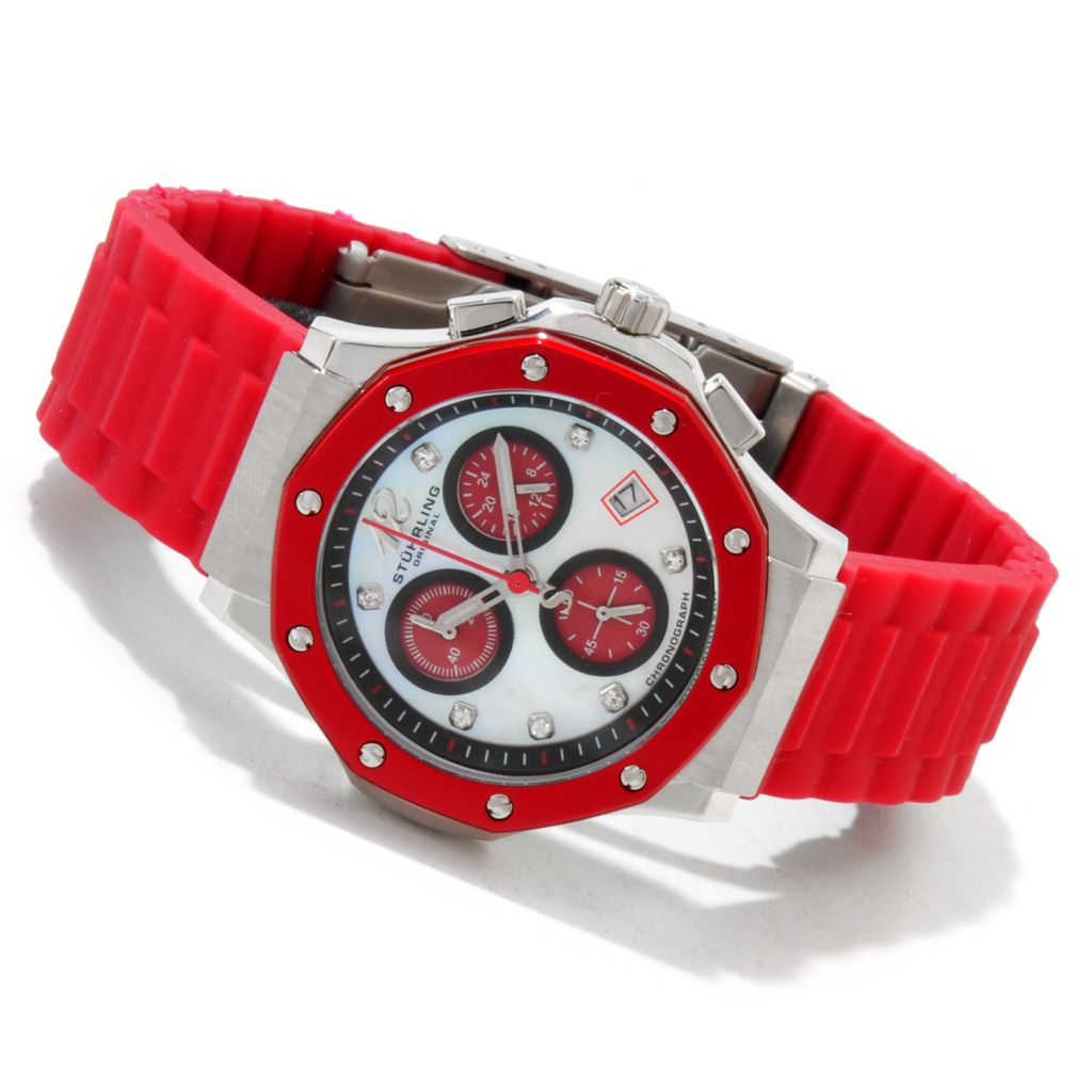 612-158 - Stührling Original Women's Cosmo Girl Quartz Chronograph Rubber Strap Watch