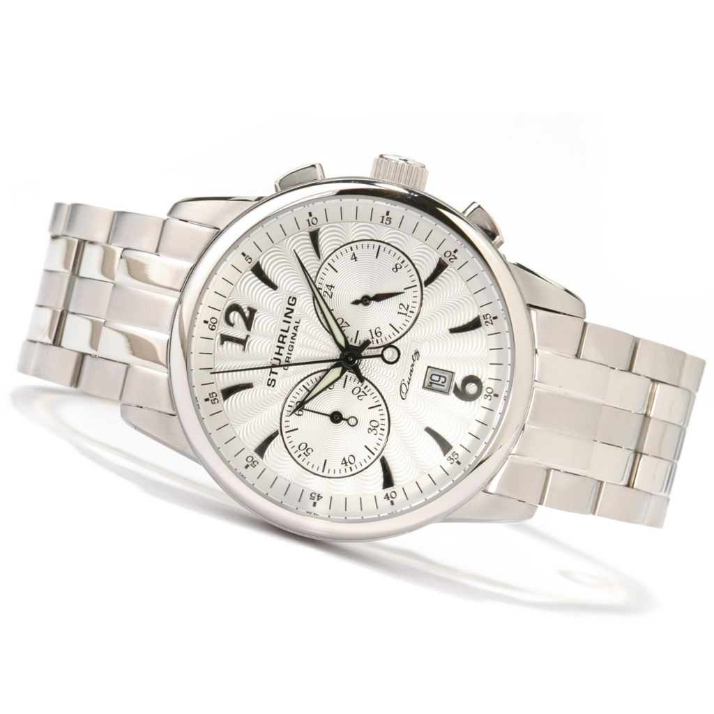 612-160 - Stührling Original 42mm Elite Chronograph Stainless Steel Watch