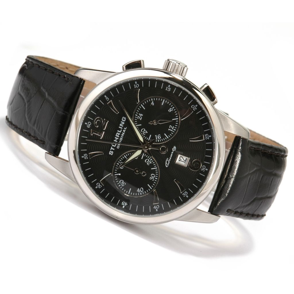 612-161 - Stührling Original 42mm Elite Chronograph Leather Strap Watch