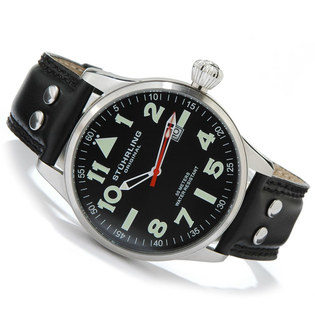 612-167 - Stührling Original 44mm Eagle Stainless Steel Leather Strap Watch