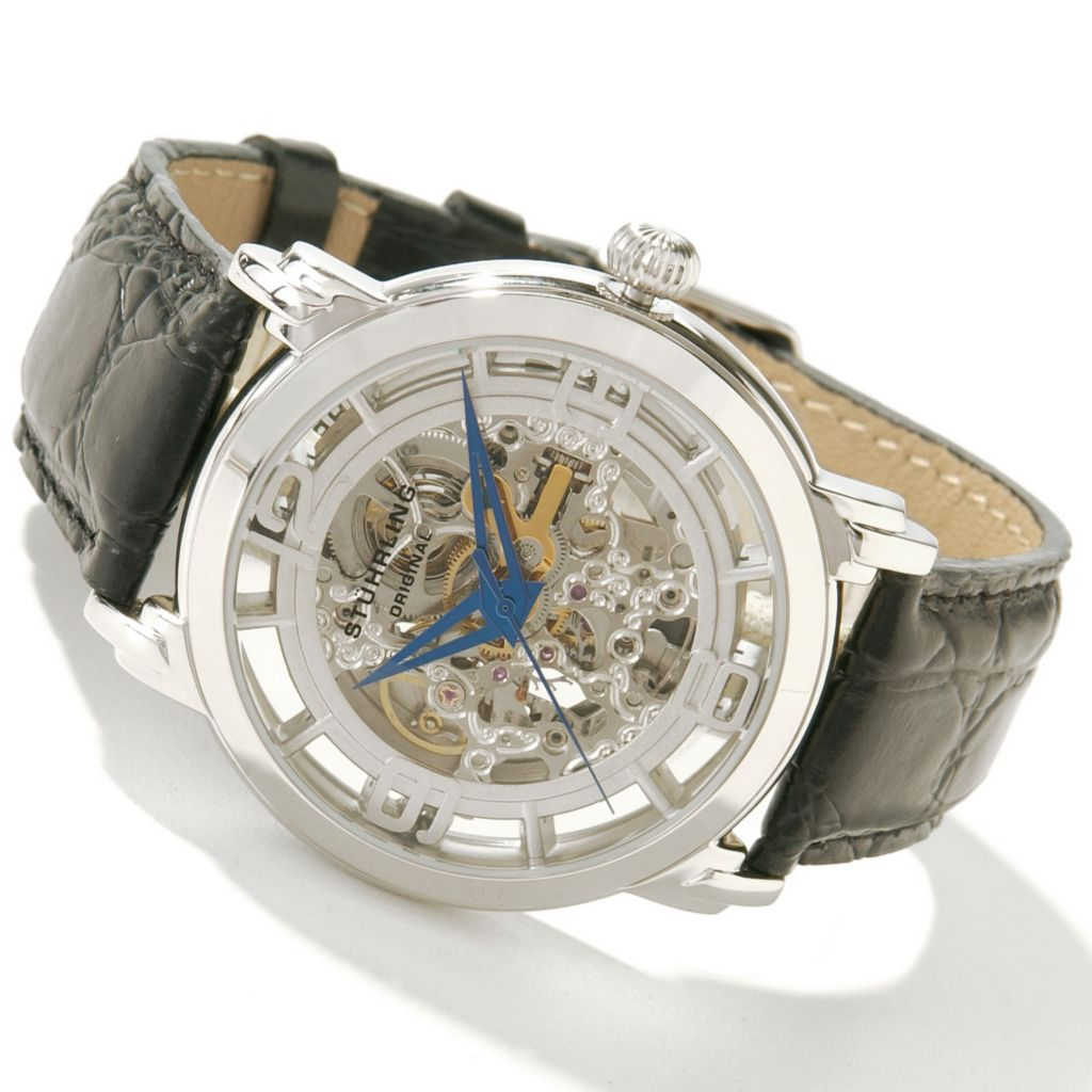 612-168 - Stührling Original 42mm Winchester Skeleton Automatic Leather Strap Watch