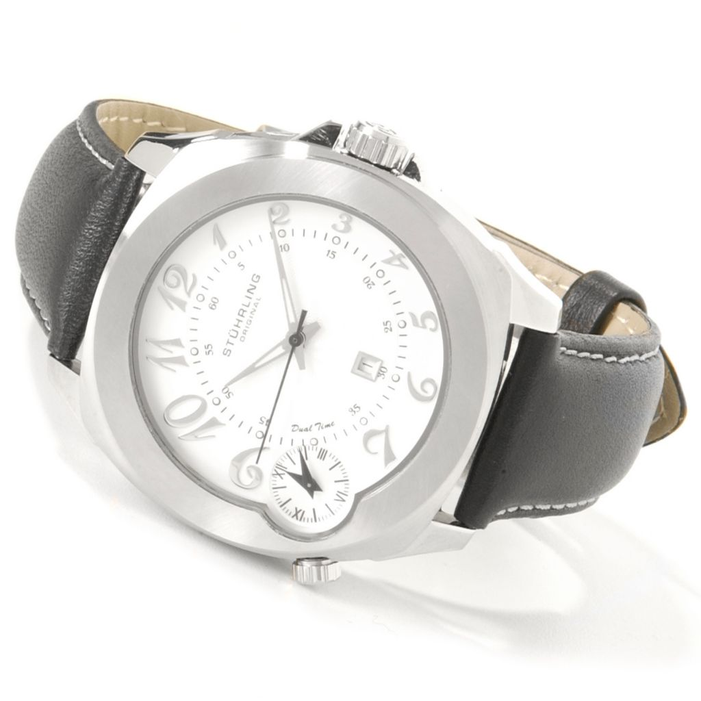 612-169 - Stührling Original 42mm Piattino Di Volo Dual Time Leather Strap Watch