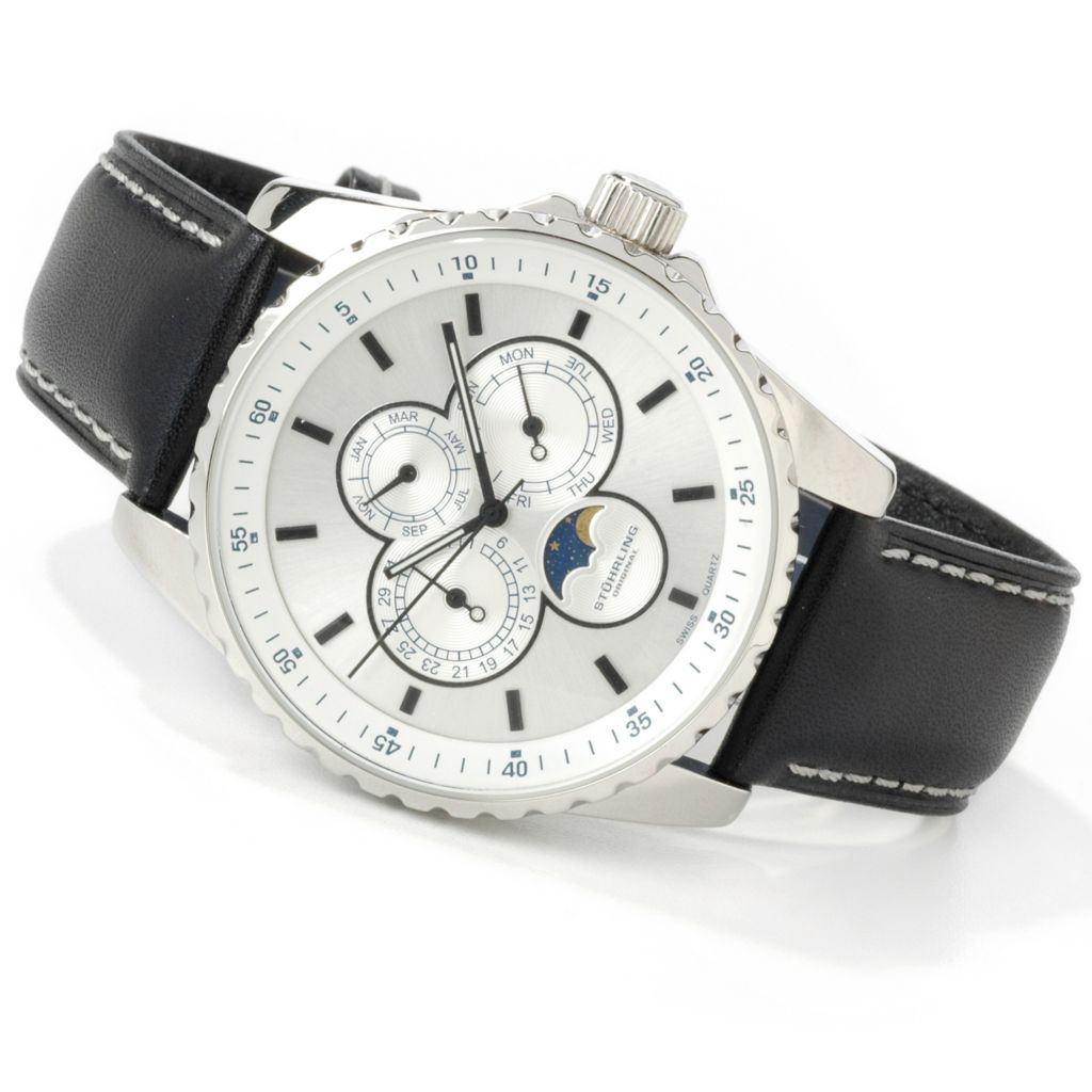 612-172 - Stührling Original 44mm Artemis Calendar Stainless Steel Leather Strap Watch