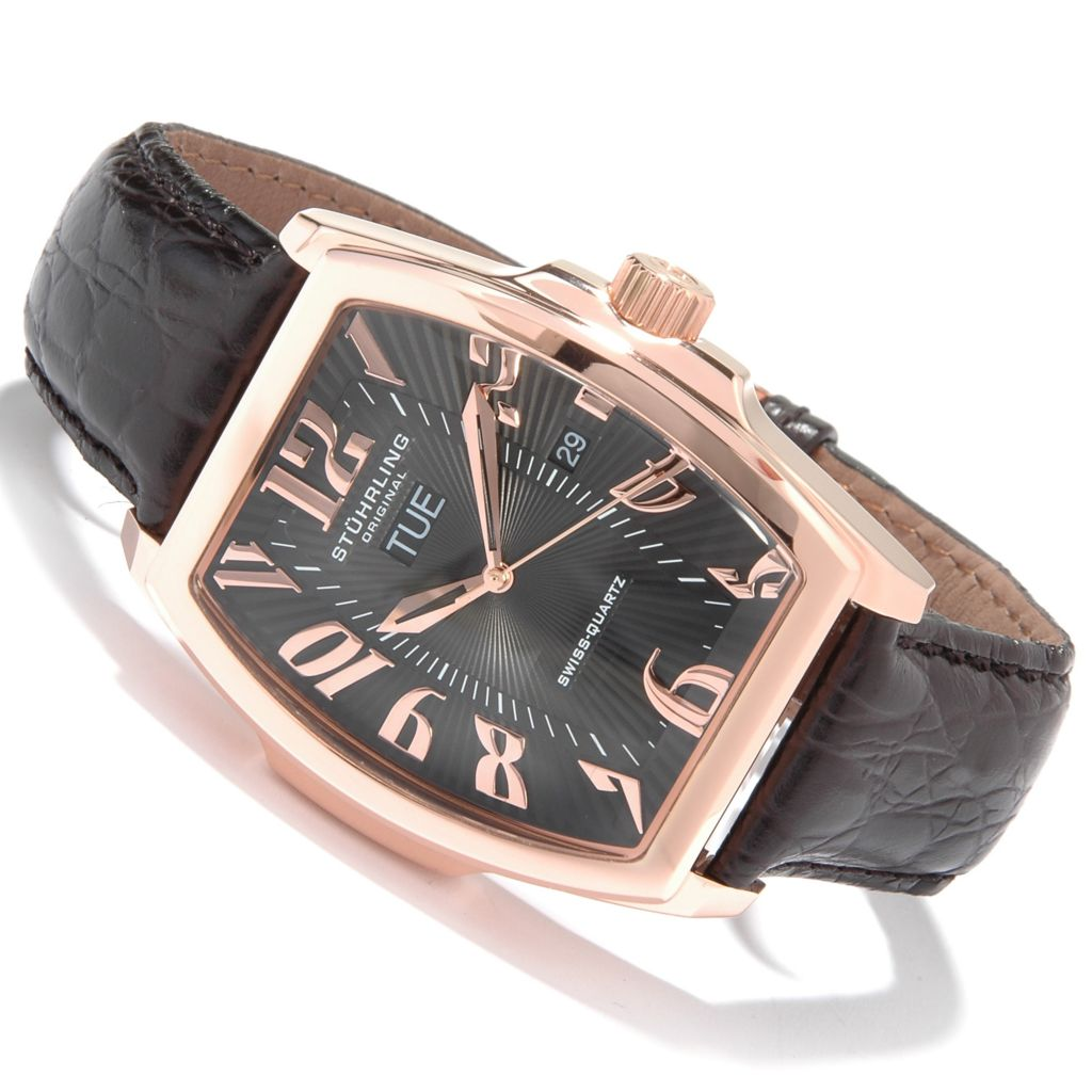 612-178 - Stührling Original Tonneau Waldorf Classic Leather Strap Watch
