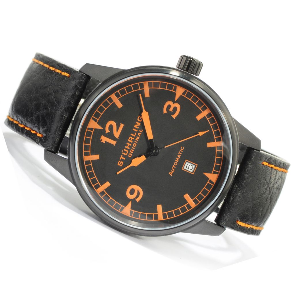 612-184 - Stührling Original Men's Tuskegee Flier Automatic Leather Strap Watch