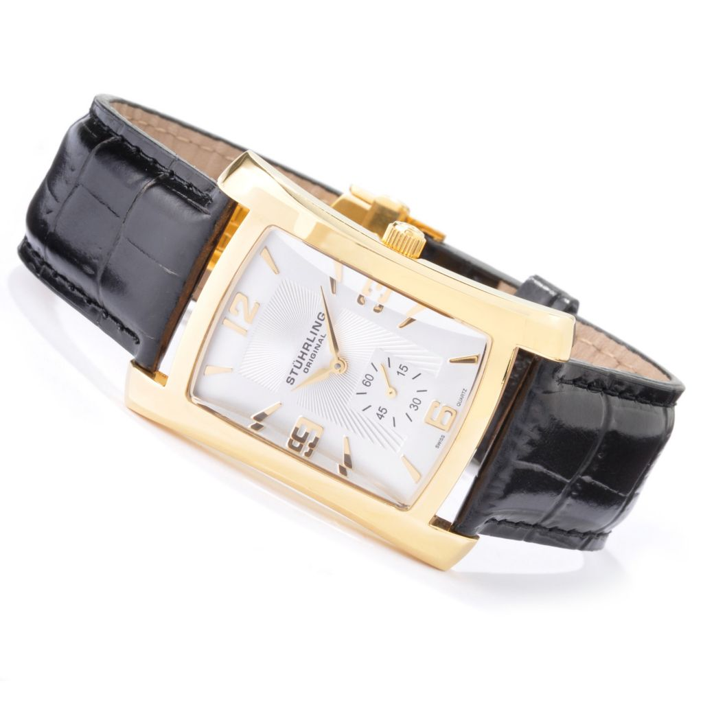 612-185 - Stührling Original Rectangular Gatsby Quartz Leather Strap Watch