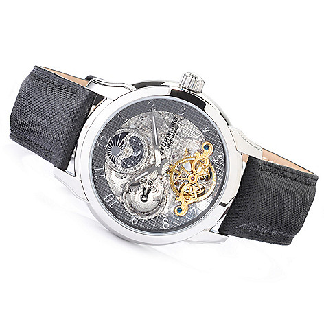 612-188 - Stührling Original 44mm Tempest Dual Time Automatic Watch