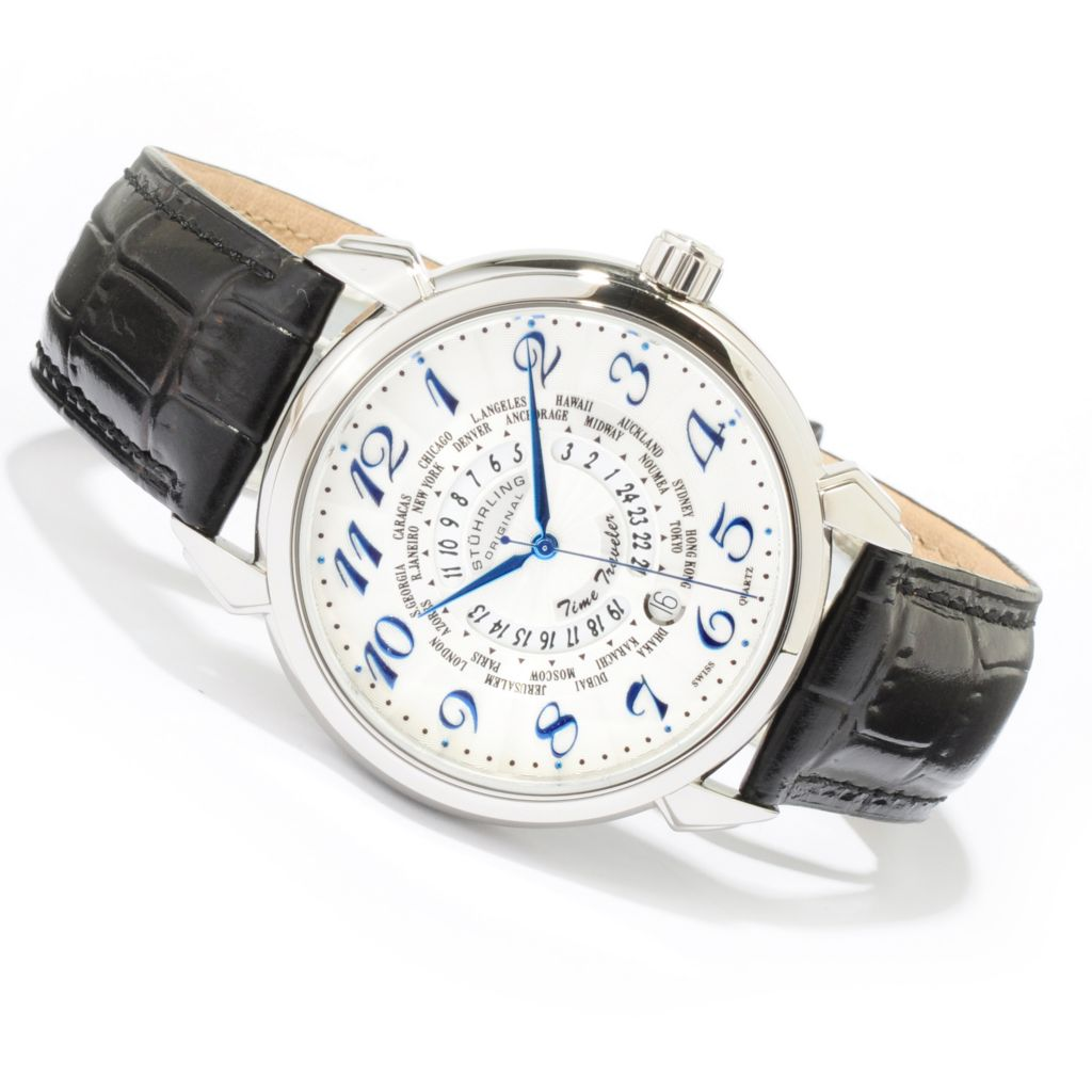 612-194 - Stührling Original 44mm Time Traveler World Time Leather Strap Watch