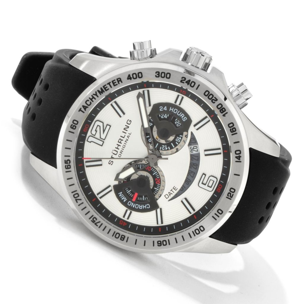 612-199 - Stührling Original Men's Brevet Quartz Chronograph Rubber Strap Watch