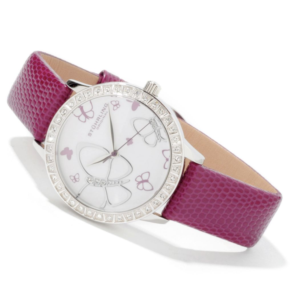 612-205 - Stührling Original Women's Fantasia Butterfly Crystal Leather Strap Watch