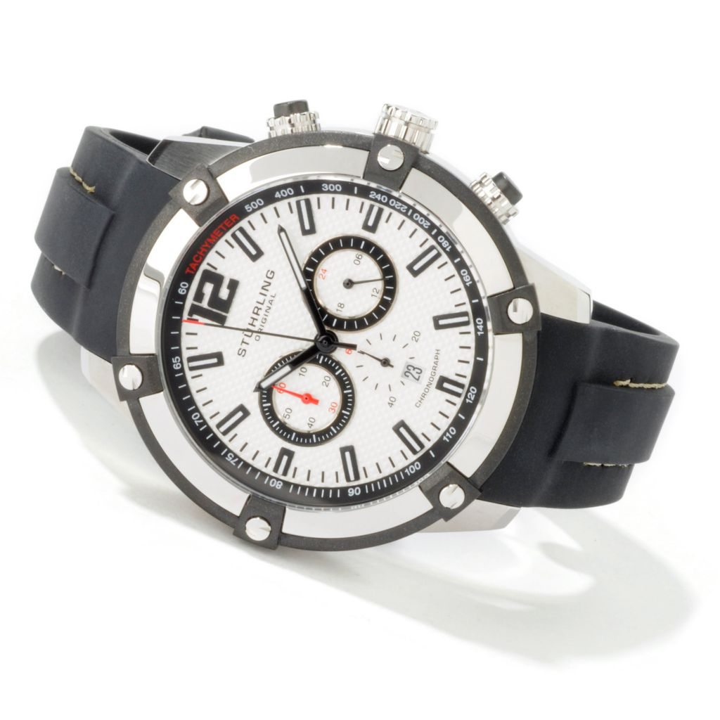 612-206 - Stührling Original 46mm Victory Quartz Chronograph Rubber Strap Watch