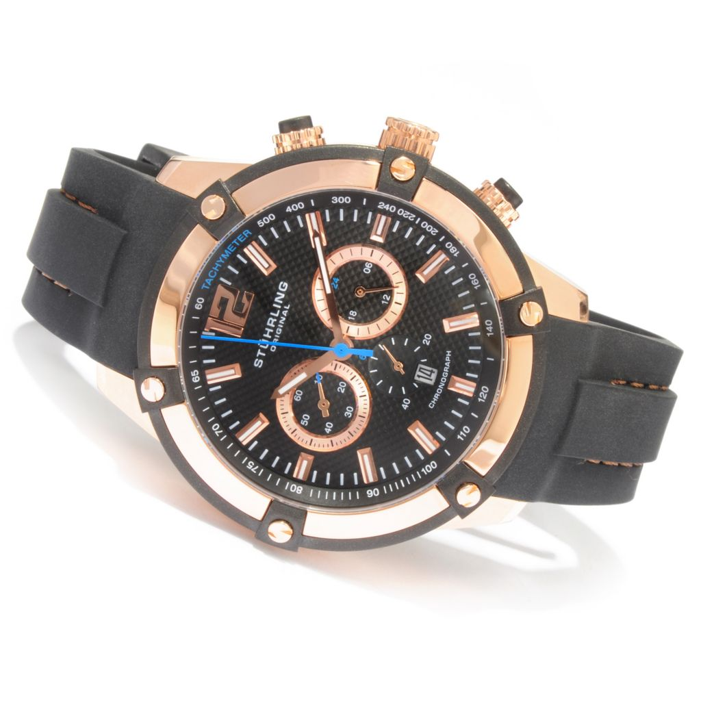 612-211 - Stührling Original Men's Victory Quartz Chronograph Rubber Strap Watch