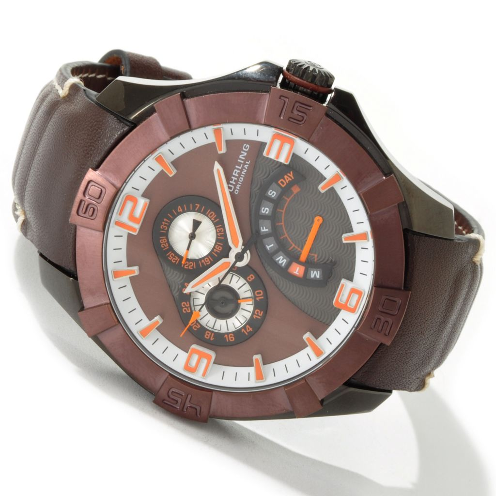 612-216 - Stührling Original Men's Gen-X Sport Quartz Leather Strap Watch
