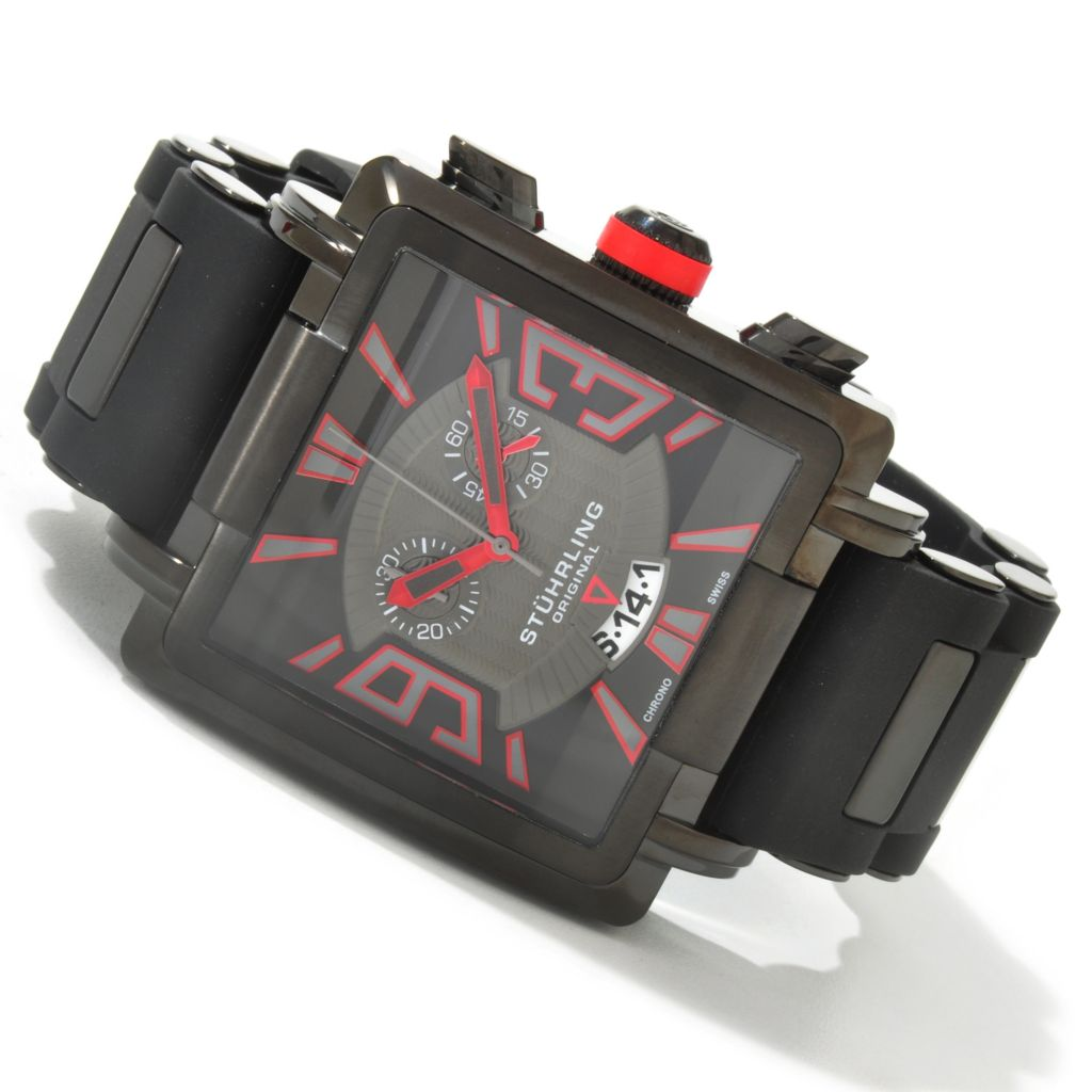 612-219 - Stührling Original 44mm Il Capo Quartz Chronograph Rubber Strap Watch