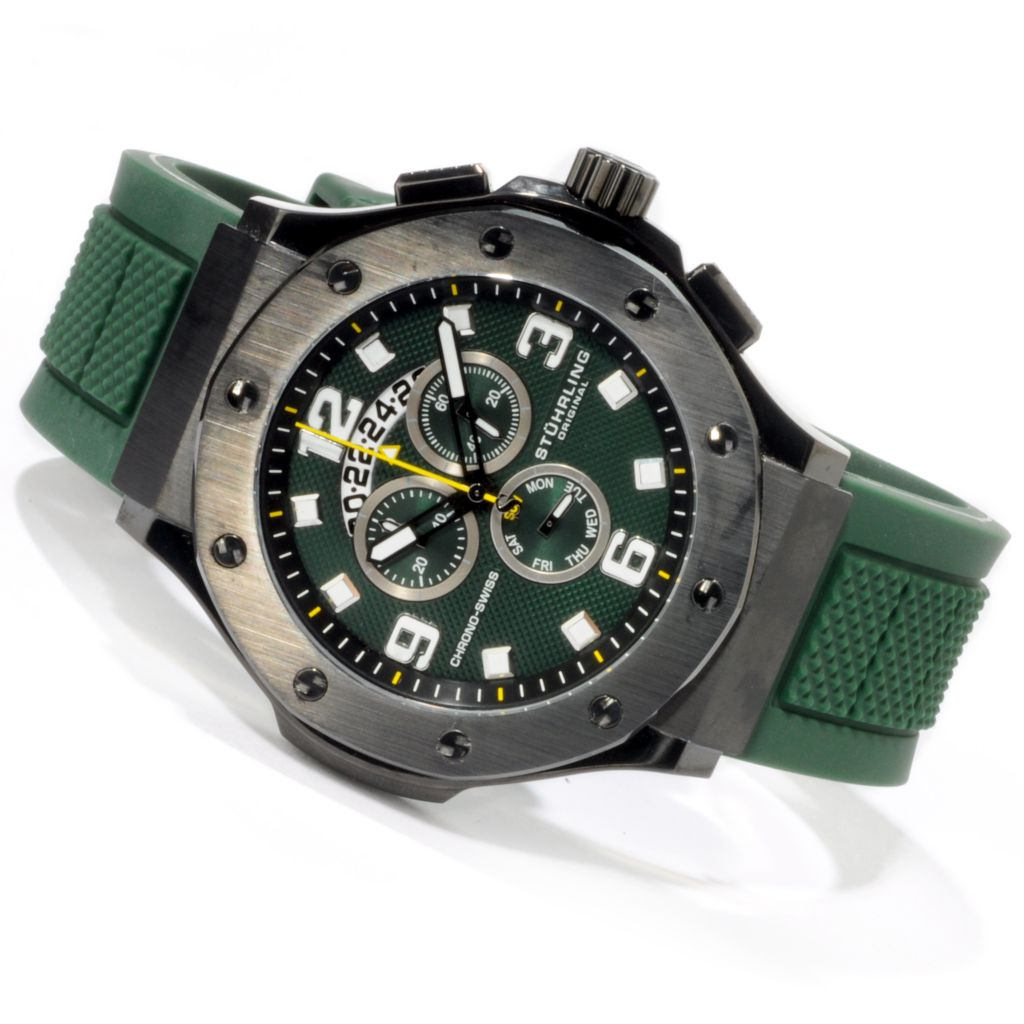 612-222 - Stührling Original 49mm Apocalypse Grand Quartz Chronograph Rubber Strap Watch