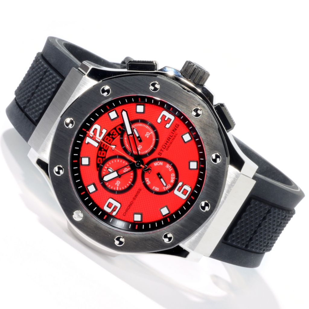 612-224 - Stührling Original 49mm Apocalypse Grand Quartz Chronograph Rubber Strap Watch