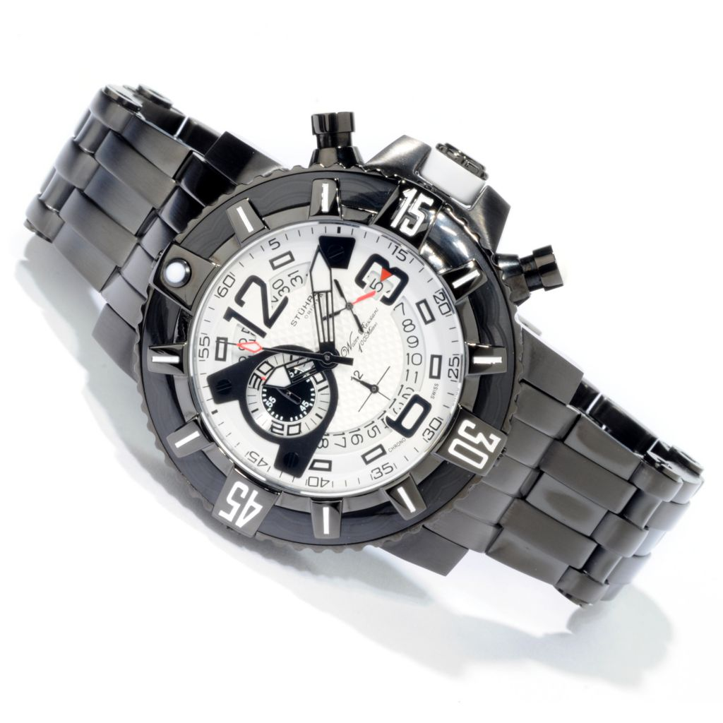 612-225 - Stührling Original 48mm Challenger Pro Quartz Chronograph Stainless Steel Bracelet Watch