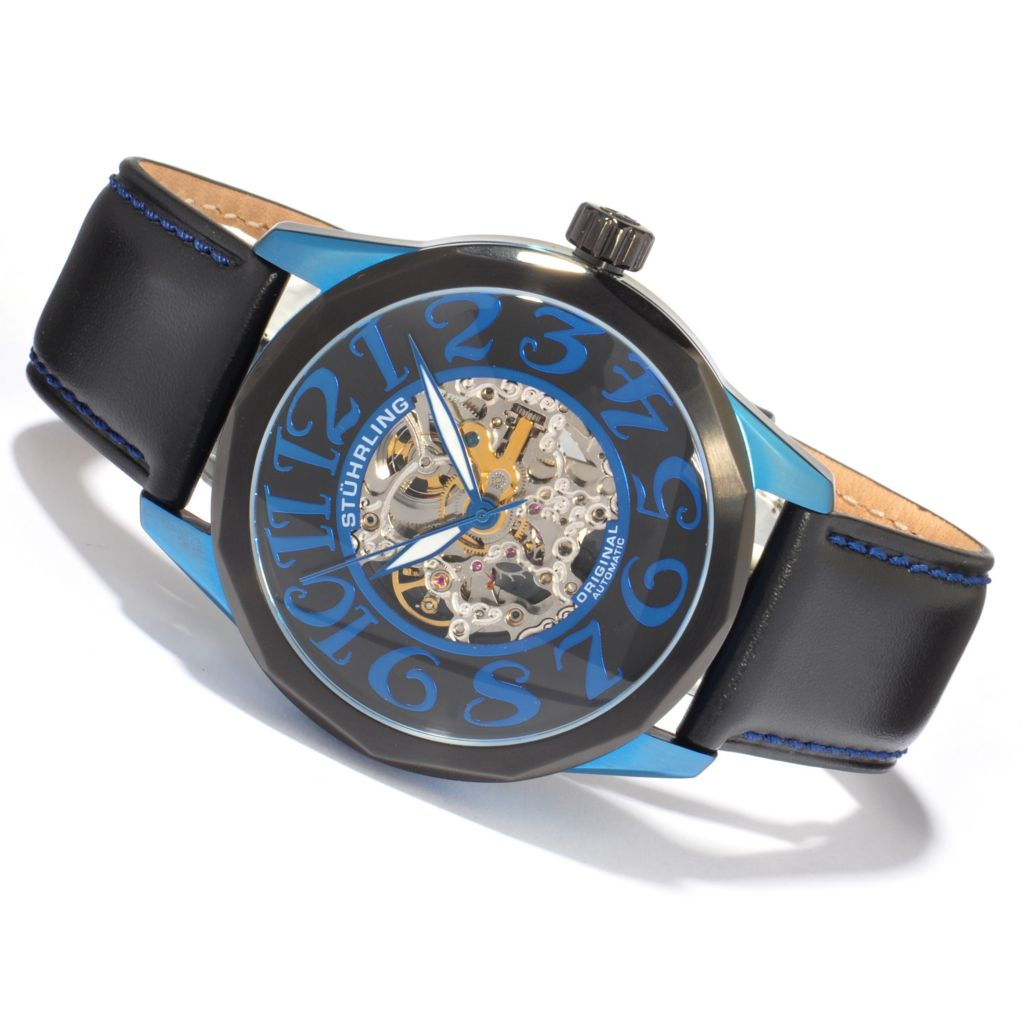612-237 - Stührling Original 48mm Skeleton Automatic Leather Strap Watch