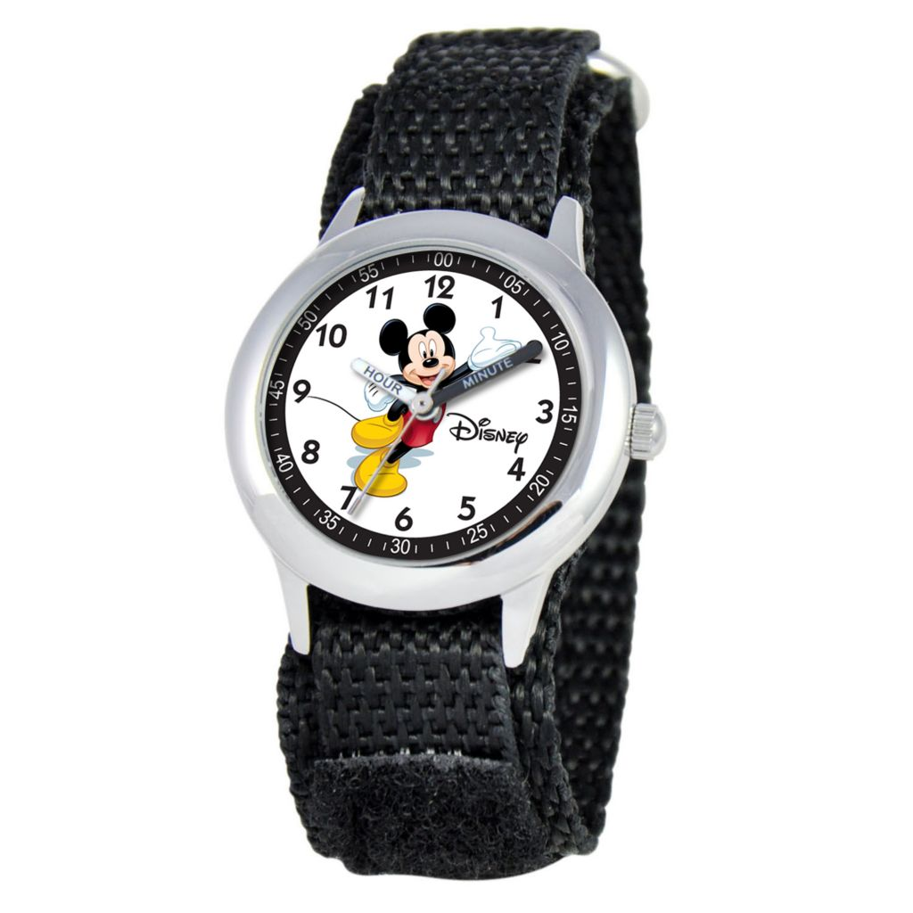 612-256 - Disney Kids Mickey Mouse Japanese Quartz Time Teacher Black Nylon Strap Watch