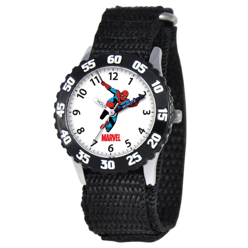 612-284 - Marvel Spiderman Mid-Size Kids Time Teacher Japanese Quartz Black Nylon Strap Watch