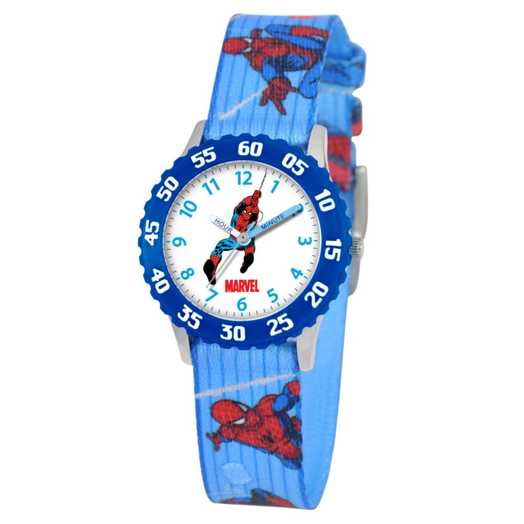 612-285 - Marvel Spiderman Mid-Size Kids Time Teacher Japanese Quartz Blue Printed Woven Strap Watch
