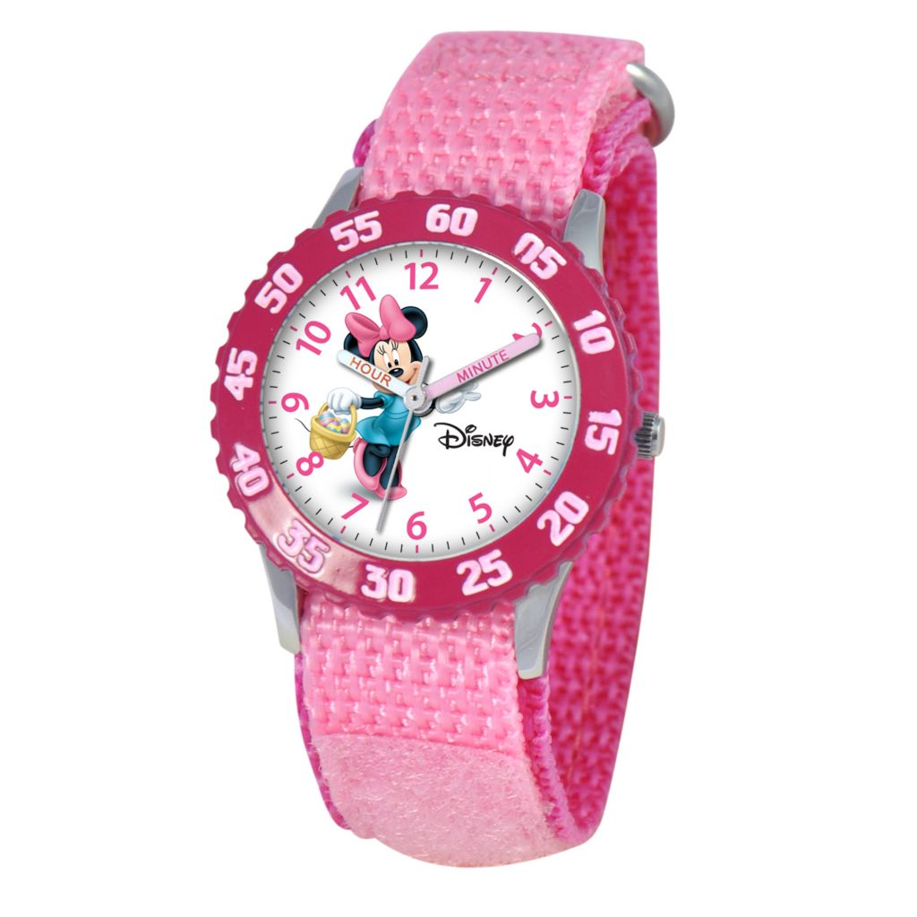 612-301 - Disney Minnie Mouse Mid-Size Kids Time Teacher Japanese Quartz Pink Nylon Strap Watch