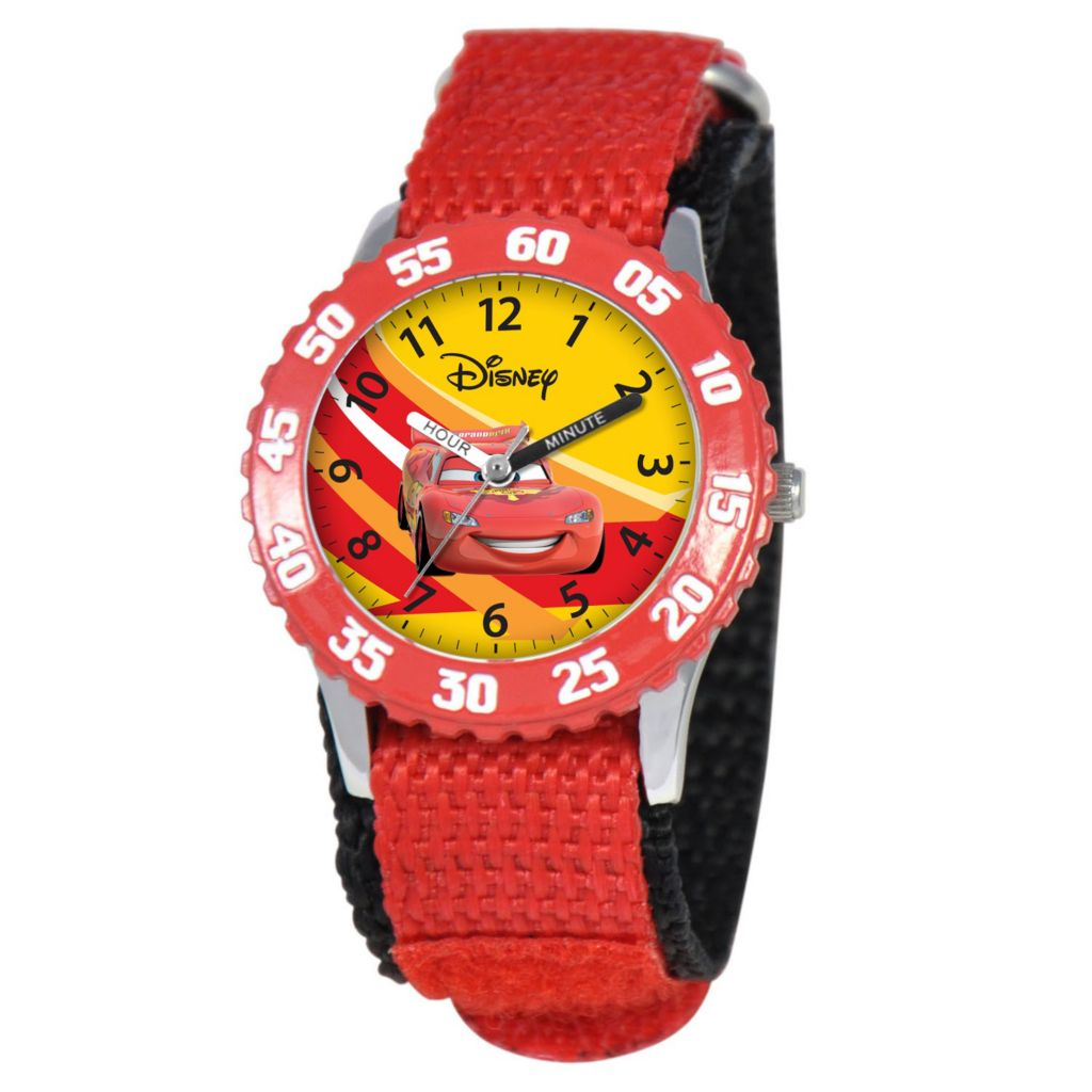612-316 - Disney Cars Mid-Size Kids Time Teacher Japanese Quartz Red Nylon Strap Watch