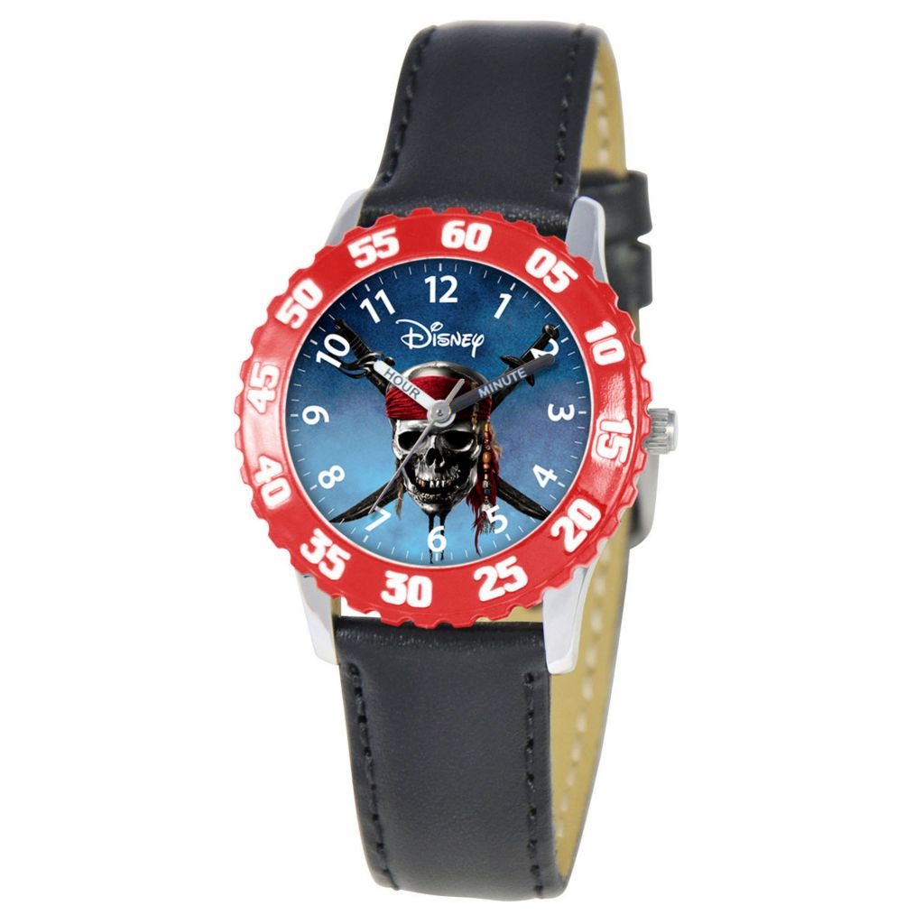 612-328 - Disney Pirates Mid-Size Kids Time Teacher Japanese Quartz Black Leather Strap Watch