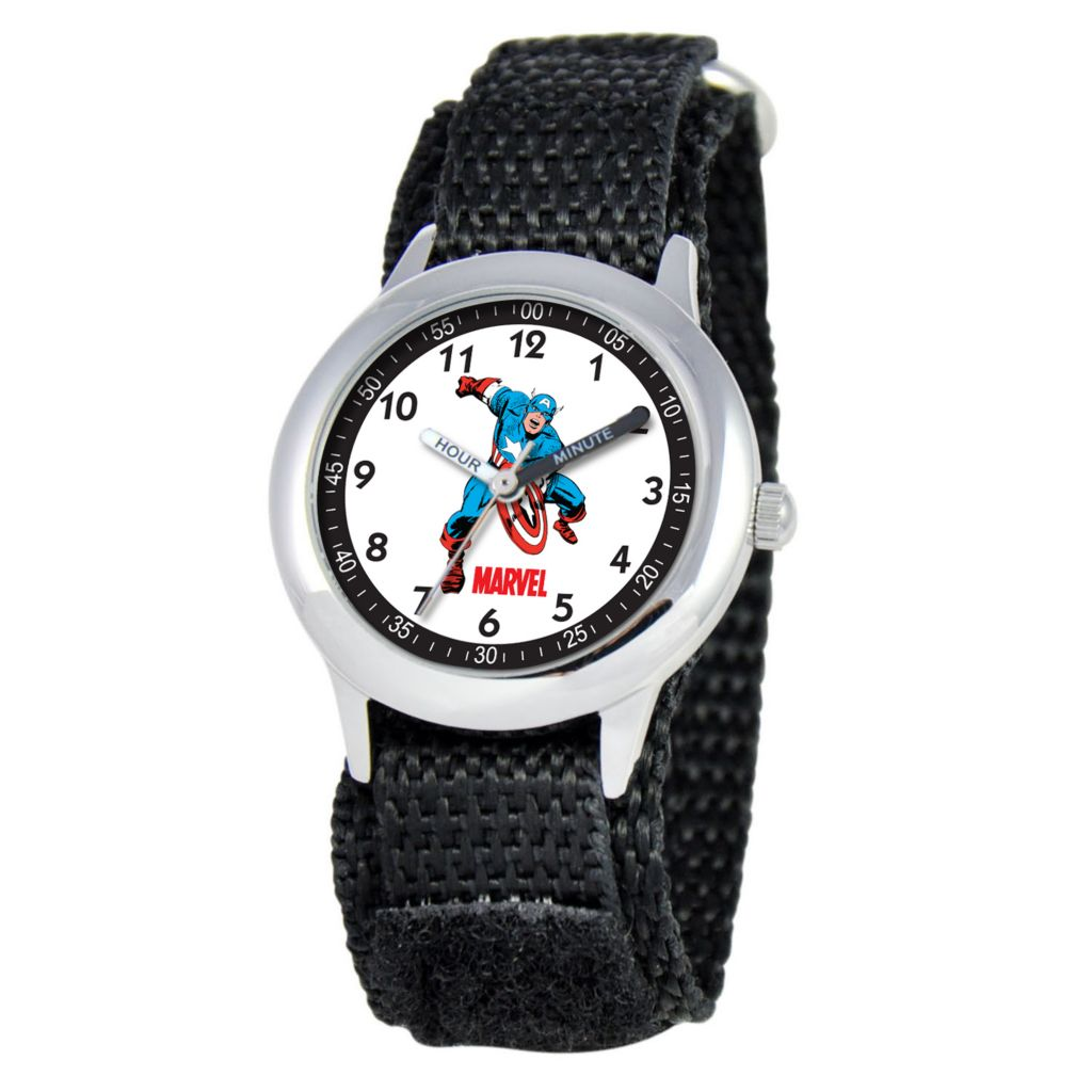 612-335 - Marvel Kids Captain America Japanese Quartz Time Teacher Black Nylon Strap Watch