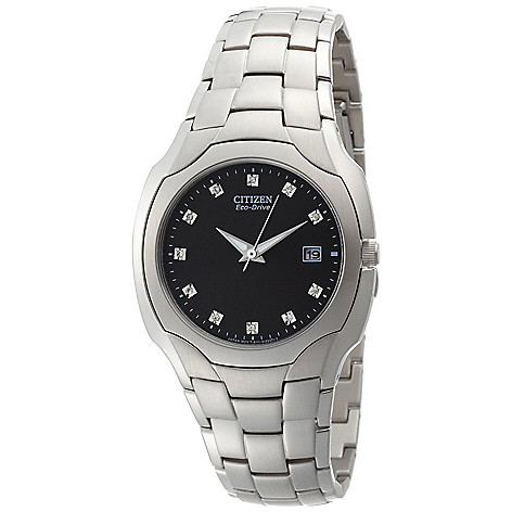 612-370 - Citizen Men's Eco-Drive Quartz Diamond Accent Black Dial Silver-tone Stainless Steel Bracelet Watch