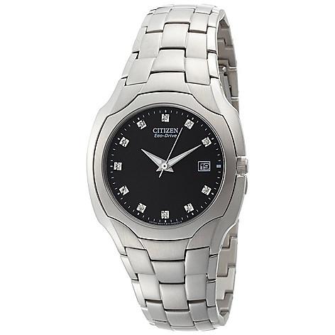 612-370 - Citizen 38mm Eco-Drive Quartz Diamond Accent Black Dial Silver-tone Stainless Steel Bracelet Watch