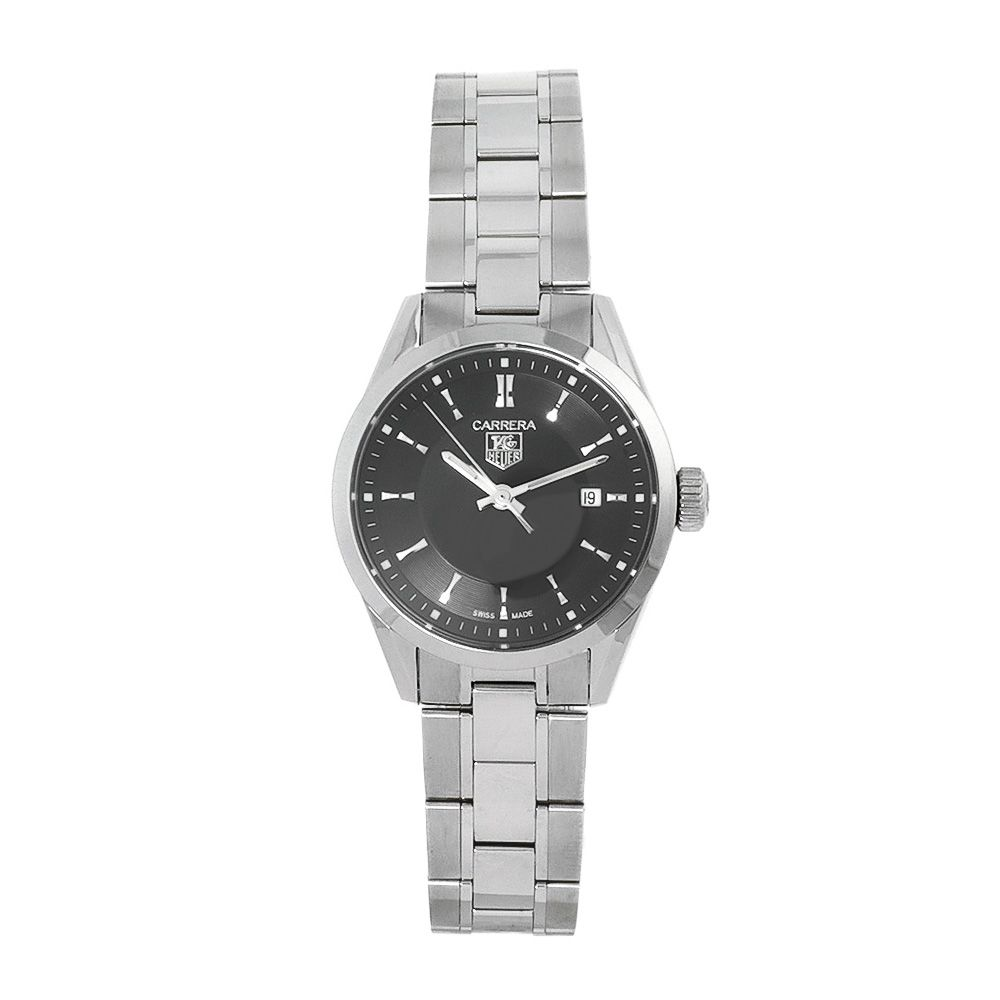 612-542 - Tag Heuer Women's Carrera Swiss Quartz Black Dial Stainless Steel Bracelet Watch