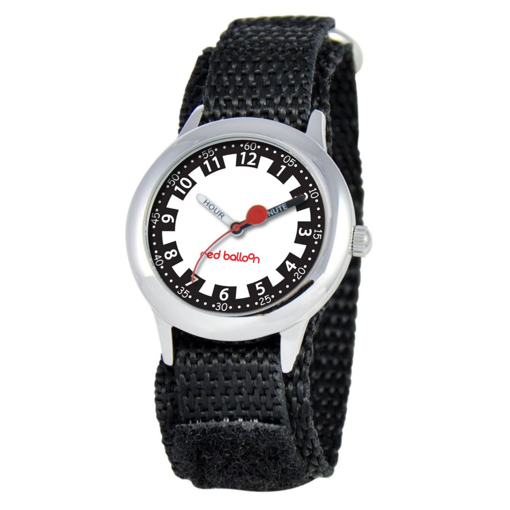 612-621 - Red Balloon Kid's Time Teacher Black Nylon Strap Watch