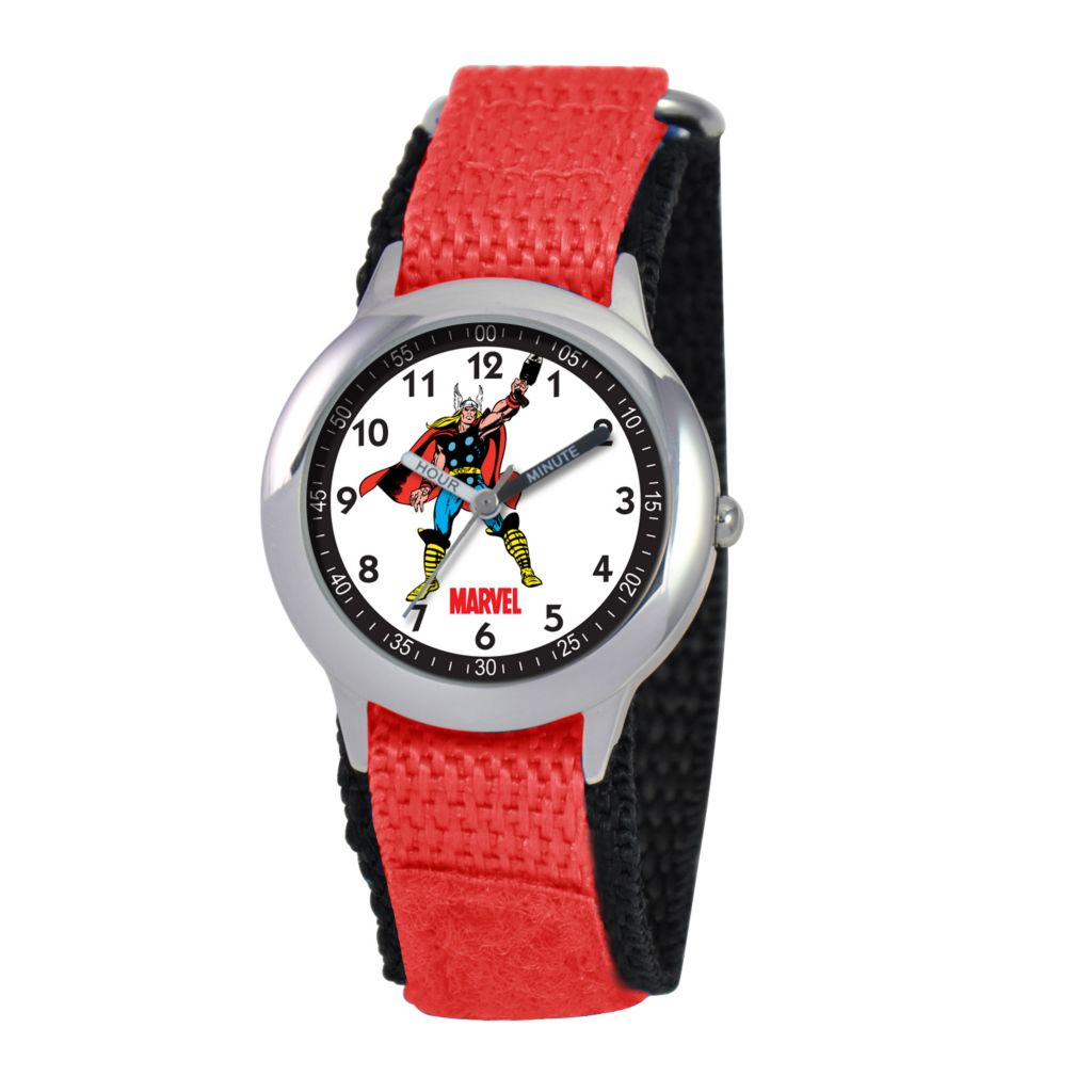 612-638 - MARVEL Thor Kid's Time Teacher Quartz Red Nylon Strap Watch
