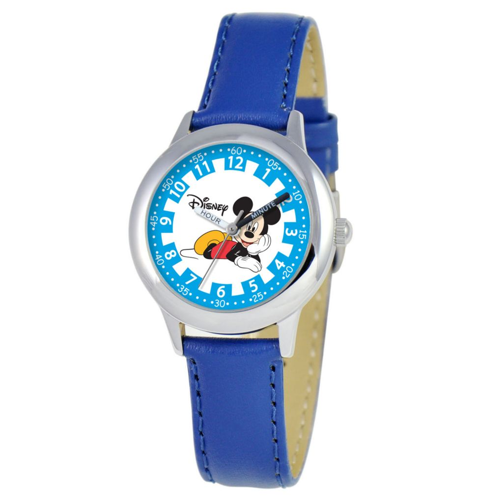 612-644 - Disney Kid's Mickey Mouse Time Teacher Quartz Blue Leather Strap Watch