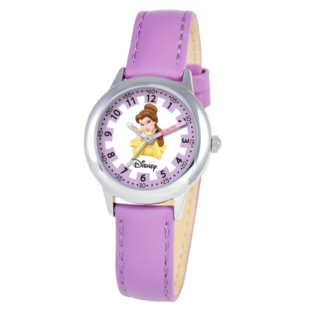 612-653 - Disney Kid's Princess Time Teacher Quartz Purple Leather Strap Watch