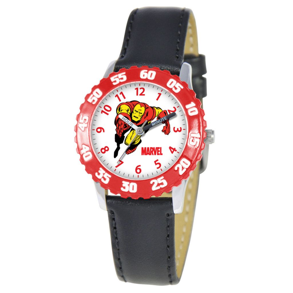 612-676 - MARVEL Kid's Iron Man Time Teacher Quartz Black Leather Strap Watch