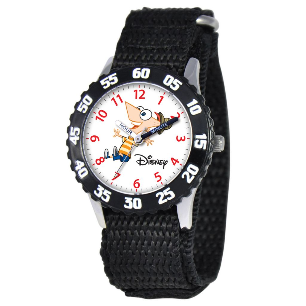 612-699 - Disney Kid's Phineas & Ferb Time Teacher Quartz Black Nylon Strap Watch