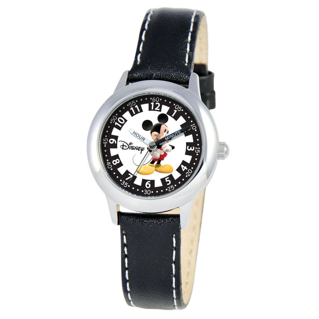 612-704 - Disney Kid's Mickey Mouse Time Teacher Quartz Black Leather Strap Watch