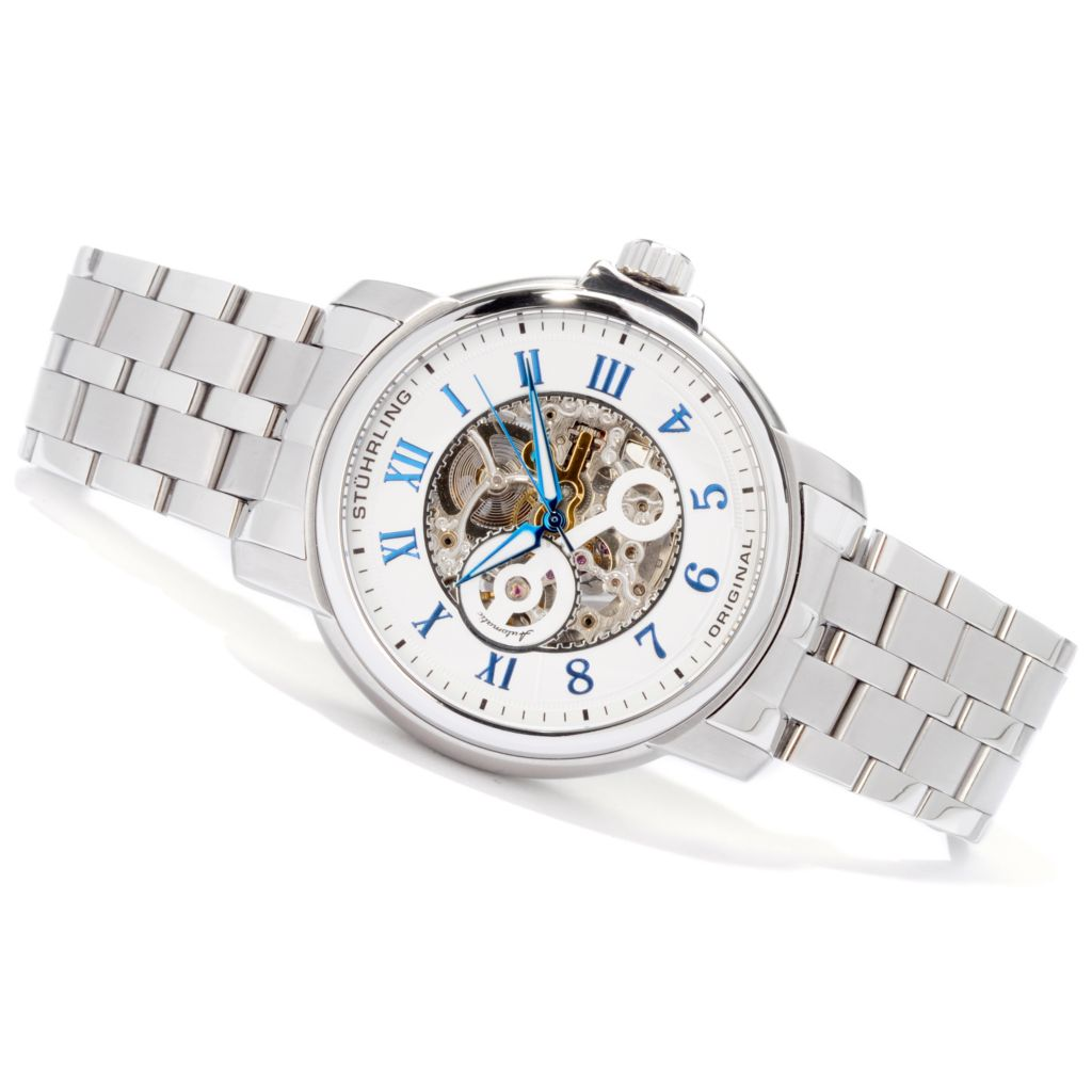 612-912 - Stuhrling Original 47mm King Lear Skeleton Automatic Stainless Steel Bracelet Watch