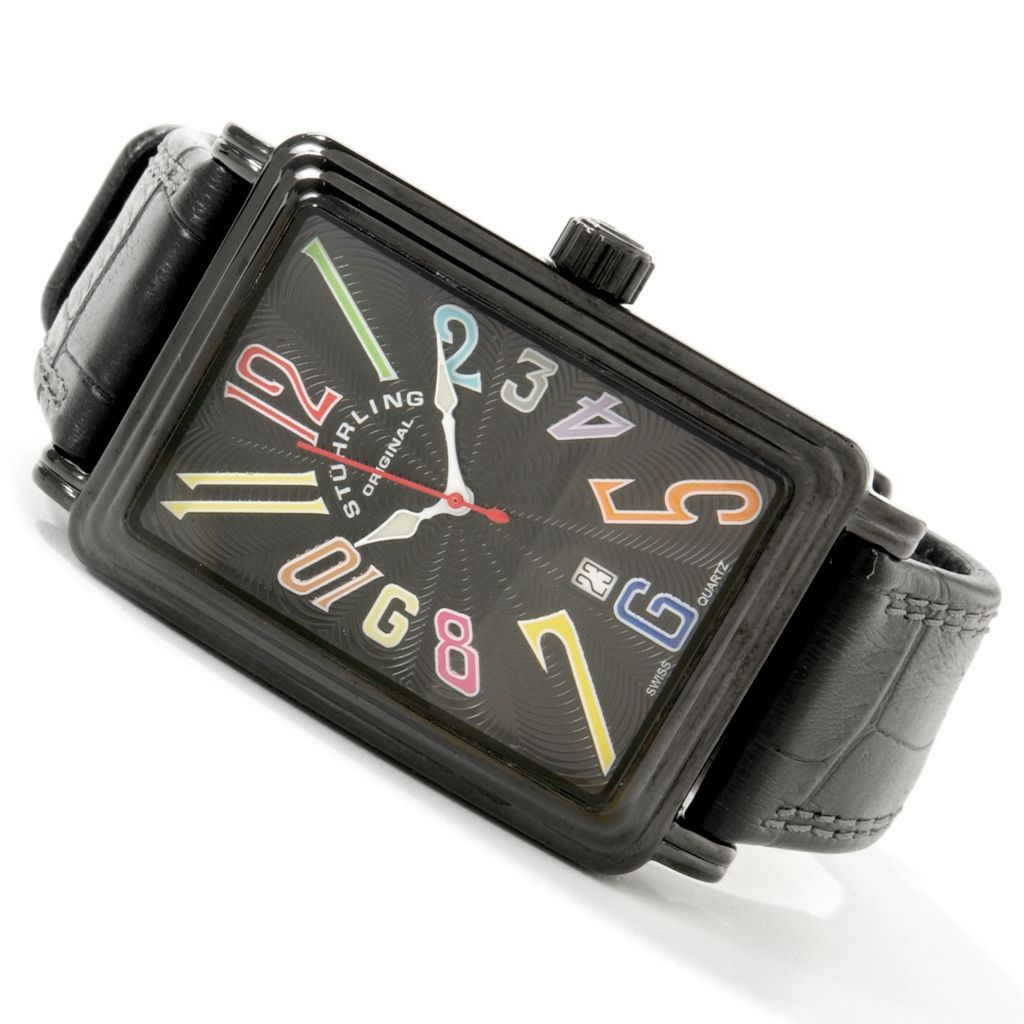 612-918 - Stührling Original Rectangular Uptown Ozzie Swiss Quartz Leather Strap Watch