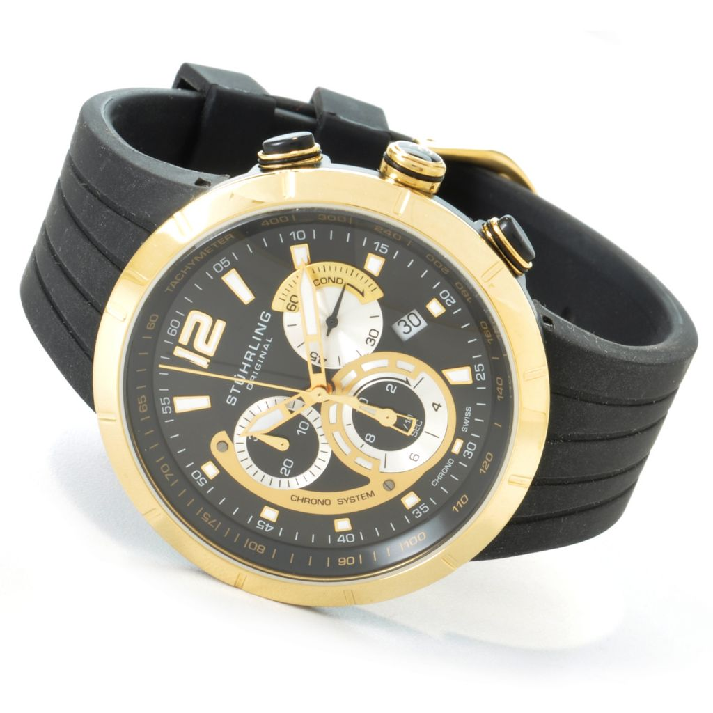 612-926 - Stührling Original 44mm Phoenix Chronograph Rubber Strap Watch
