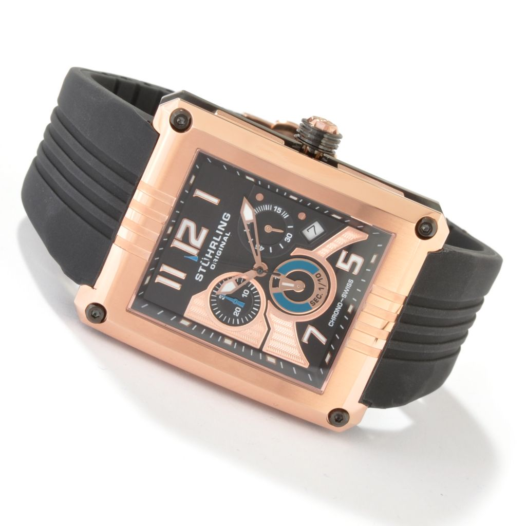 612-930 - Stührling Original Men's Limited Edition Madman Chronograph Rubber Strap Watch