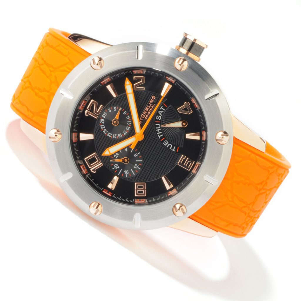 612-942 - Stührling Original 49mm Torino Lista Multifunction Quartz Rubber Strap Watch