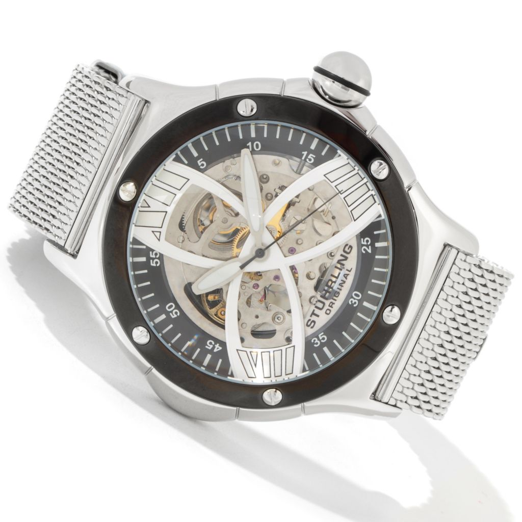 612-943 - Stührling Original 52mm Alpine Slalom Skeleton Automatic Mesh Bracelet Watch