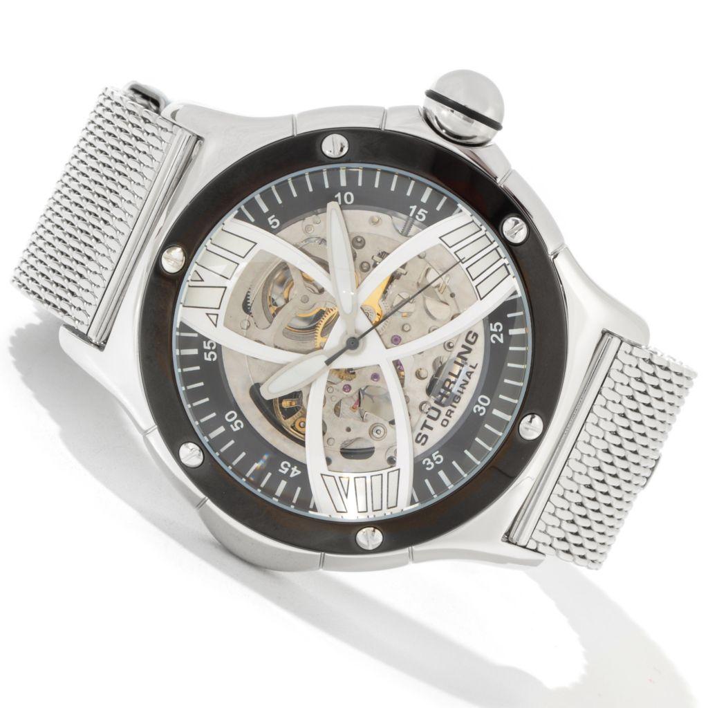 612-943 - Stührling Original 52mm Alpine Slalom Skeleton Automatic Mesh Bracelet Watch
