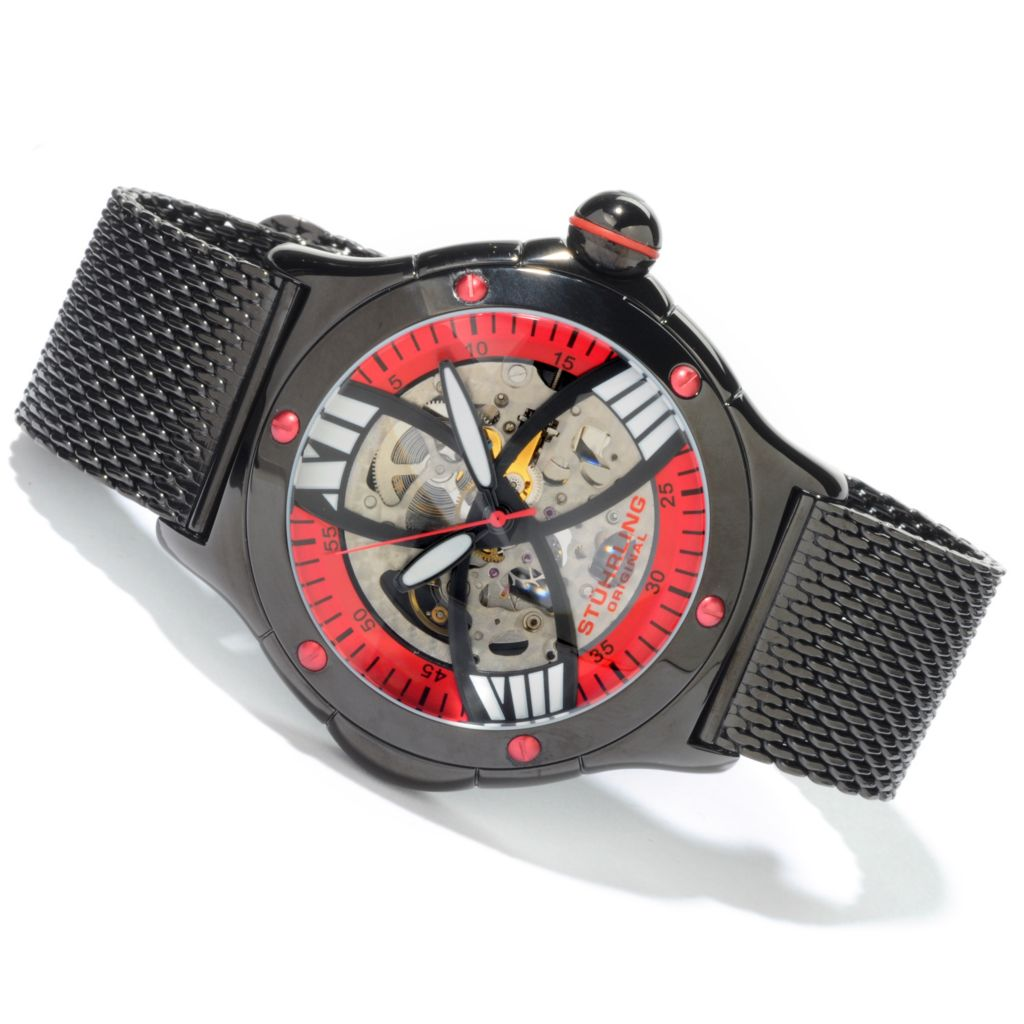 612-947 - Stührling Original 52mm Alpine Slalom Skeletonized Automatic Mesh Bracelet Watch