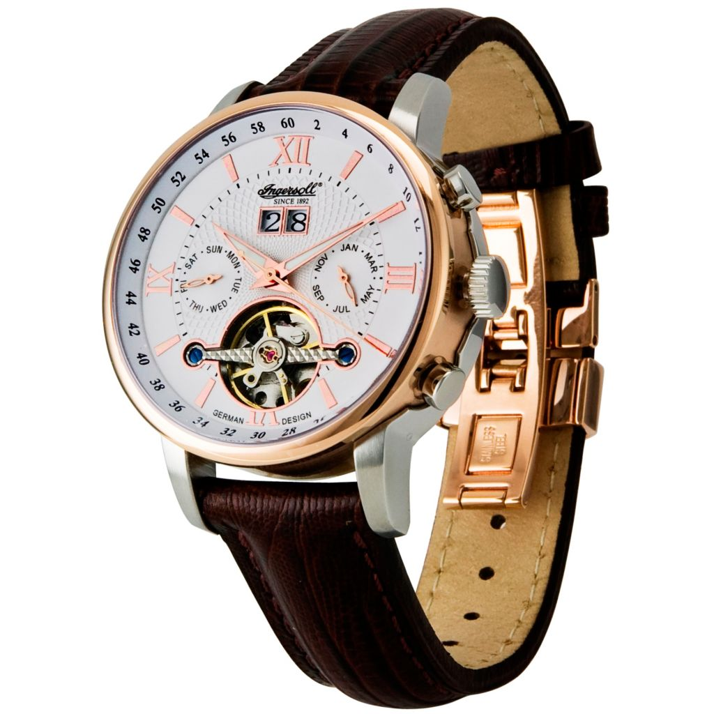 612-967 - Ingersoll 42mm Grand Canyon Automatic Rose-tone Stainless Steel Leather Strap Watch