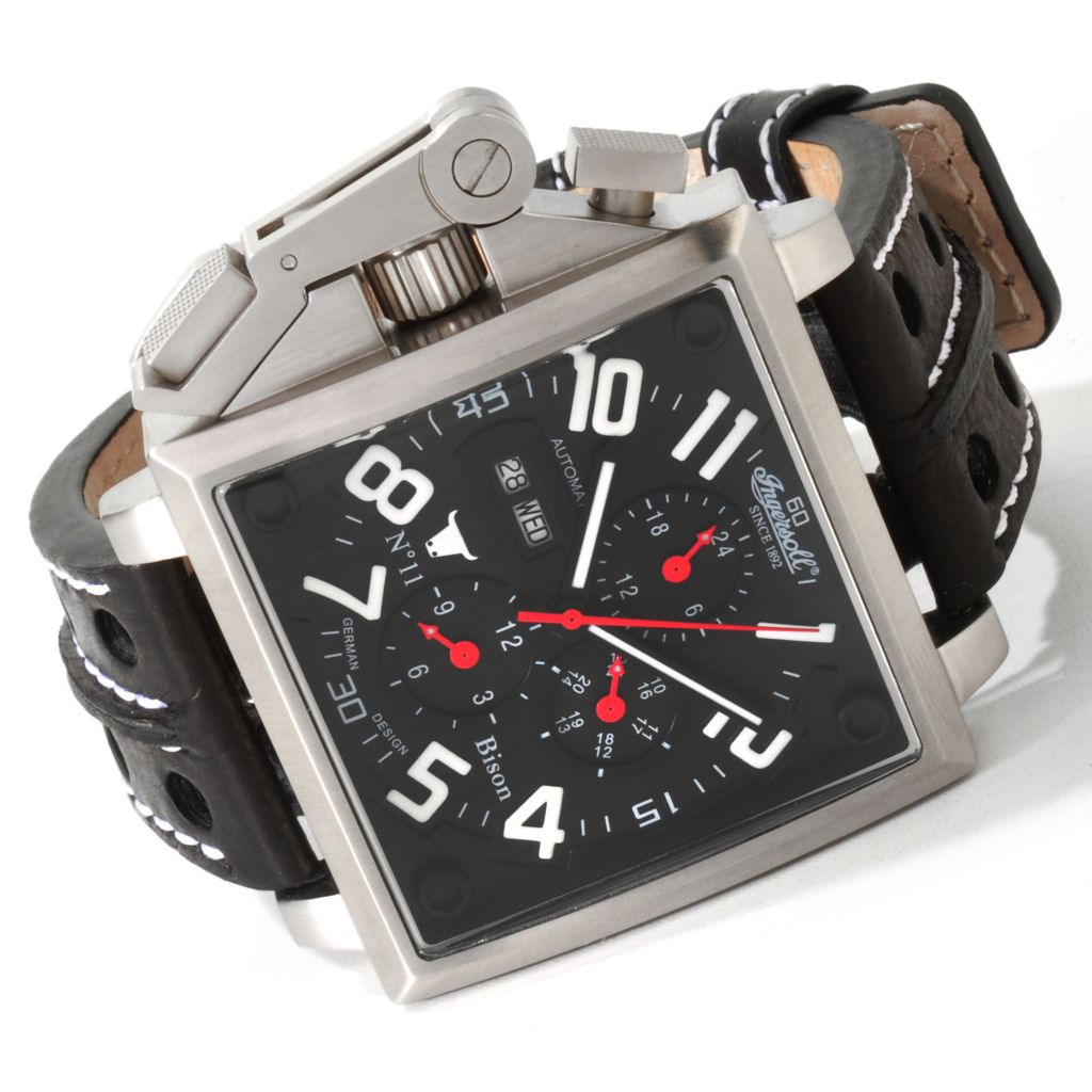 612-999 - Ingersoll 46mm Bison No. 11 Automatic Leather Strap Watch